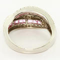 Beautiful Ladies 18K White Gold Pink Sapphire Diamond Twisted Right Hand Ring