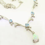 Glamorous Ladies 10K White Gold Opal Synthetic Blue Topaz Drop Pendant Necklce