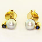 Dazzling Ladies 14K Yellow Gold Grey Lustrous Pearl Sapphire Stud Earrings
