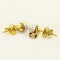 Dazzling Ladies 14K Yellow Gold Grey Lustrous Pearl Sapphire Stud Earrings