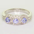 Alluring Ladies 14K White Gold Synthetic Tanzanite Ring Circle Of Life Pendant