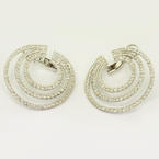 Spectacular Ladies 14K White Gold Round Diamond Triple Circle Earrings Pair