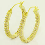 Dazzling Ladies 10K Yellow Gold Round Diamond Hoop Earrings Pair