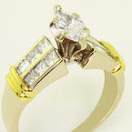 Dazzling Ladies Vintage 18K White Gold Marquise Diamond Engagement Ring