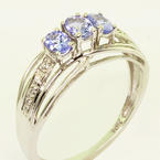 Beautiful Ladies 10K White Gold Synthetic Tanzanite Diamond Right Hand Ring