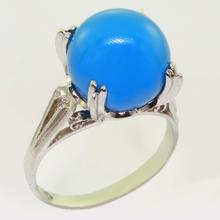 Spectacular Ladies Vintage 14K White Gold Round Turqouise Ring