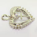 Dazzling Ladies 14K White Gold Diamond Heart Cross Vintage Pendant