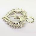 Dazzling Ladies 14K White Gold Diamond Heart Cross Vintage Pendant