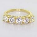Maginificent Ladies 14K Yellow Gold Round Five Diamond Anniversary Band Ring