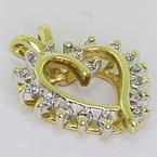 Dazzling Ladies 10K Yellow Gold Round Diamond Heart Pendant
