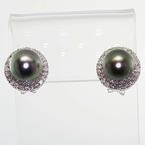 Dazzling Ladies Vintage 14K White Gold Tahitian Pearl Diamond Halo Earrings