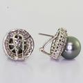 Dazzling Ladies Vintage 14K White Gold Tahitian Pearl Diamond Halo Earrings