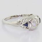 Estate 10K White Gold Diamond & Sapphire Ring