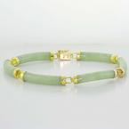Dazzling Ladies 14K Yellow Gold Chinese Green Jade Bracelet