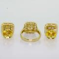 Magnificent Ladies 14K Yellow Gold Princess Diamond Ring Earring Jewelry Set