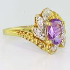 Dazzling Ladies Vintage 10K Yellow Gold Iolite Diamond Ring