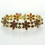 Dazzling Vintage Ladies 14K Yellow Gold Garnet Flower Bracelet Jewelry