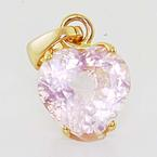 Dazzling Ladies 18K Rose Gold Pink Quartz Heart Shaped Pendant Jewelry