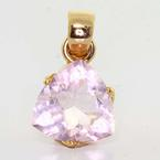 Dazzling Ladies 18K Rose Gold Pink Quartz Trillion Shaped Pendant Jewelry