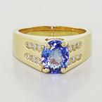Dazzling Ladies 14K Yellow Gold Synthetic Sapphire Round Diamond Cocktail Ring