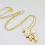 Dazzling Vintage Ladies 14K Yellow Gold Pearl Diamond Pendant Necklace