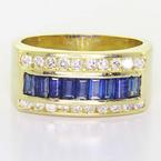 Handsome Men's 14K Yellow Gold Blue Sapphire Round Diamond Wedding Band Ring