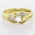 Dazzling Vintage 14K Yellow Gold  Round Diamond Engagement Ring Wedding Band