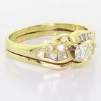 Dazzling Vintage 14K Yellow Gold  Round Diamond Engagement Ring Wedding Band