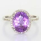 Beautiful Ladies 14K White Gold Amethyst Diamond Right Hand Ring Jewelry