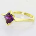 Magnificent Ladies 18K Yellow Gold Square Amethyst Art Deco Designed Ring