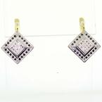 Spectacular Vintage Ladies 14K Two Tone Russian Round Diamond Dangling Earrings