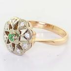 Spectacular Ladies 14K Rose White Vintage Russian Cocktail Ring Cubic Zirconia