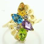 Breathtaking Ladies 14K Yellow Gold Gemstone Diamond Right Hand Ring