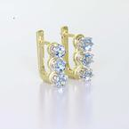 Dazzling Ladies 14K White Yellow Aquamarine Gemstone Russian Lock Earring Set