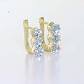 Dazzling Ladies 14K White Yellow Aquamarine Gemstone Russian Lock Earring Set