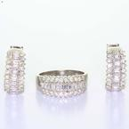 Maginificent Ladies 14K white Gold Diamond Ring  HuggieEarring Jewelry Set
