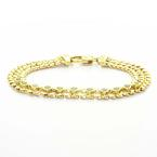 Charming Vintage Ladies 14K Yellow Gold Emerald Gemstone Mesh Bracelet