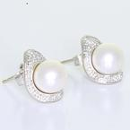 Dazzling Ladies 18K White Gold Kiara White Pearl Diamond Earrings