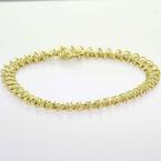 Beautiful Ladies 14K Yellow Gold Diamond Twist Link Tennis Bracelet Jewlery