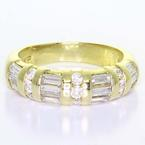 Dazzling Ladies Vintage 14K Yellow Gold Baguette Round Diamond Wedding Band