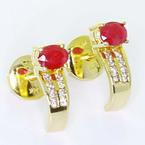 Magnificent Ladies Vintage 14K Yellow Gold Ruby Diamond J Hoop Stud Earrings