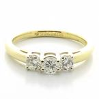 Magnificent Ladies 14K Yellow White Gold Three Diamond Engagement Ring Band