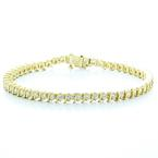 Spectacular Ladies Vintage 14K Yellow Gold Round Diamond Tennis Bracelet