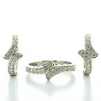Dazzling Ladies 14K White Gold Round Diamond Ring Hoop Earring Jewelry Set