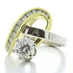 Unique Ladies Platinum 18K Yellow Gold Diamond  Retro Art Deco Ring Jewelry