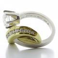 Unique Ladies Platinum 18K Yellow Gold Diamond  Retro Art Deco Ring Jewelry