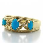 Dazzling Ladies Vintage 14K Yellow Gold Hand Engraved Turquoise Ring Band