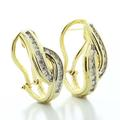 Dazzling Ladies  Vintage 10K Yellow Gold Round Diamond Twist Earrings French Clip