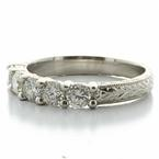 Spectacular Ladies Platinum Round Diamond Hand Engraved  Wedding Band Ring