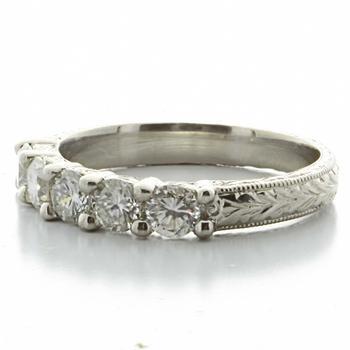 Spectacular Ladies Platinum Round Diamond Hand Engraved  Wedding Band Ring